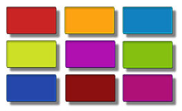 Web buttons- rectangle #04. Set of glass, glossy, colored, web buttons Stock Photos