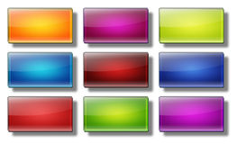 Web buttons- rectangle #19. Set of glass, glossy, colored, web buttons Stock Images