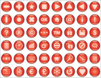Web buttons red. Glossy red buttons for web and interfaces illustration Royalty Free Stock Photos