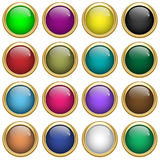 Web buttons round in gold Stock Photo