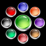 Web buttons round set in silver casing Royalty Free Stock Images