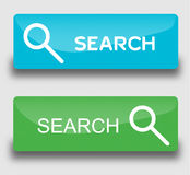 Web buttons search. Vector set. Search buttons in light blue and green colors Stock Photo