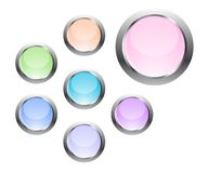 Web buttons, set. Glossy web buttons in pastel shades Royalty Free Stock Photos
