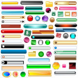 Web buttons set of 63. Web buttons collection with 63 scalable assorted colors and shapes inc round, square, rectangles and oval shaped buttons. Isolated on Royalty Free Stock Images