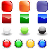 Web buttons set. Set of glossy vector internet buttons for web design use Stock Image