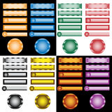 Web buttons set in assorted colors and designs. Web buttons collection in assorted colors, designs and shapes. All blank for placing your own text on royalty free illustration