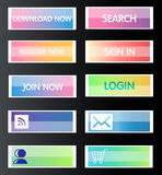 Web buttons. Set of colorful web buttons. Glossy and stylish Royalty Free Stock Photography