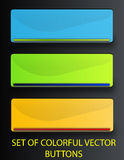 Web buttons. Set of colorful vector buttons: blue, green and yellow Stock Illustration