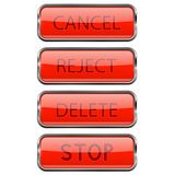 Web buttons. Shiny 3d red glass buttons with metal frame. Cancel, Reject, Delete, Stop. Vector 3d illustration isolated on white background Stock Photography