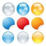Web buttons shiny. Icons glass vector color eps stock illustration