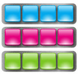 Web buttons. Simple web buttons in three different color Royalty Free Stock Photos