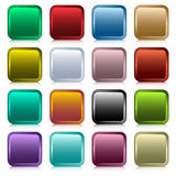 Web buttons square set. Web buttons set in 16 rounded square assorted colors with reflection. Scalable. Isolated on white Royalty Free Stock Image