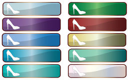 Web Buttons With Stiletto Heels. A collection of rectangle image based web icons with stiletto heel shoes on white vector illustration