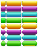 Web buttons templates. Green, blue, orange, purple buttons circular and rounded rectangular shape without text or icons Stock Image