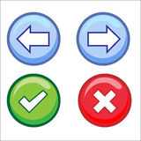 Web Buttons, Tick, Cross, Arrows Stock Photo