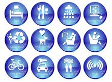 Web Buttons with Travel Icons. A range of signs useful for advanced search, expecially for web sites dedicated to travel and online booking Stock Images