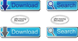 Web buttons. Two blue interactive buttons - download and search . Eps format is available Royalty Free Stock Photo