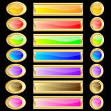 Web buttons various colors with gold rims Stock Photos