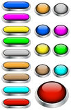 Web buttons vector. Set of metal glossy buttons for web design on white background Stock Photography