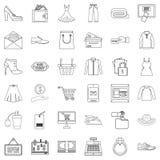 Web buying icons set, outline style. Web buying icons set. Outline set of 36 web buying vector icons for web isolated on white background Royalty Free Stock Images