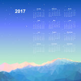Web Calendar page. Calendar page, 2017 year, vector template. Week starts at Monday. Poster with mountain background Stock Images