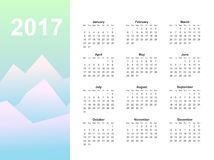 Web Calendar page. Calendar page, 2017 year, vector template. Week starts at Monday. Poster with mountain background Stock Photo