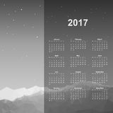 Web Calendar page. Calendar page, 2017 year, vector template. Week starts at Monday. Poster with mountain background, black and white Stock Photography