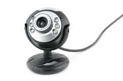 Web cam. Close up of web cam in isolated white background royalty free stock photo