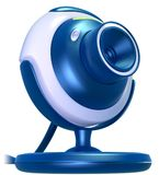 Web Cam Blue. 3D rendering of electronic, computer web camera. Isolated in solid background, for easier editing Royalty Free Stock Image