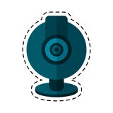 Web cam computer rounded icon cut line Royalty Free Stock Image