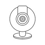 Web cam computer rounded icon thin line Stock Image