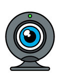 Webcam front view with blue eye iris Stock Images