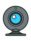 Web cam front view with blue lens Stock Photo