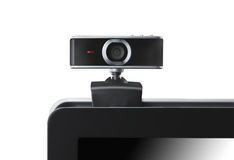 Web camera on laptop staring at you stock photo