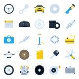 Car service cartoon icons set. Repair and maintenance Illustration. Colorful flat vector illustrations of car parts Royalty Free Stock Photos
