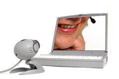 Web Chat with Woman Face on Computer Screen  Royalty Free Stock Images