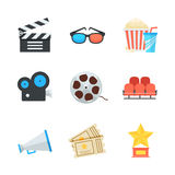 Cinema and movie vector icons set in cartoon flat style. Colorful design elements illustration. Royalty Free Stock Images
