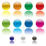Web circle button. Collection of colorful circular web icons with reflection in white surface Royalty Free Stock Image