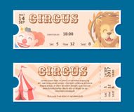 Circus show entrance tickets template.Colorful horizontal vector pass in cartoon flat style with trained lion, clown, circus tent Royalty Free Stock Image