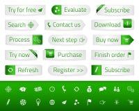 A Web clara abotoa-se com marcador e ícones verdes ilustração do vetor