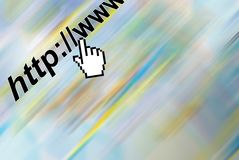 Web Click. Internet hand ready to click url with extra space alloted for text Royalty Free Stock Photography