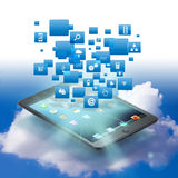 Web cloud connection. With ipad mini Stock Photos
