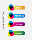 Web cmyk button. Modern web button cmyk colors Stock Image