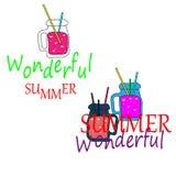 web Cocteles frescos del verano Colecci?n de la limonada y de los jugos Jugos de fruta del hielo del verano en jarros ilustración del vector