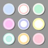 Backgrounds with polka dot and frills. Collection of round cute frames. It are filled with a pattern in polka dots and also decorated with frills. Great for royalty free illustration