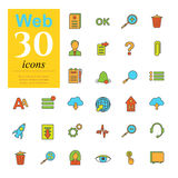 30 web color icons. Set of color web icons for internet services. 30 icons high quality, vector illustration Stock Photography