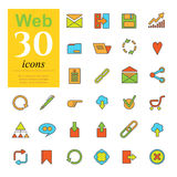 30 web color icons. Set of color web icons for internet services. 30 icons high quality, vector illustration Royalty Free Stock Image