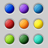 Web colored buttons round empty surface Stock Photos