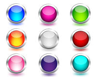 Web colored buttons round with reflection . Web colored buttons round with reflection on white Royalty Free Stock Photos