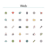 Web Colored Line Icons Stock Images